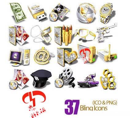 دانلود مجموعه آیکون های متنوع طلایی رنگ – Bling Icons